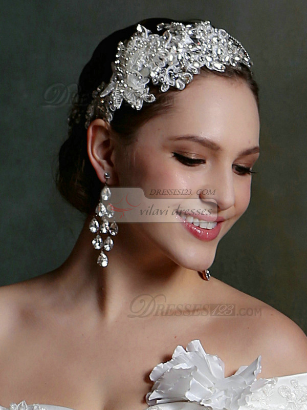 Vintage Handmade Lace Headband Headpiece with Rhinestones and Crystals