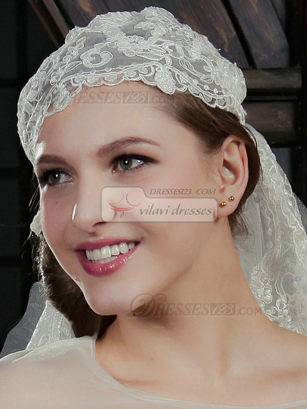 Unique Lace Wedding Hat with Elbow Length Veil