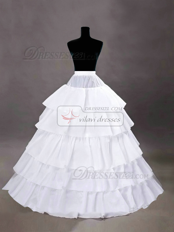 Nylon A-Line 5 Tiers Floor-length Wedding Petticoat