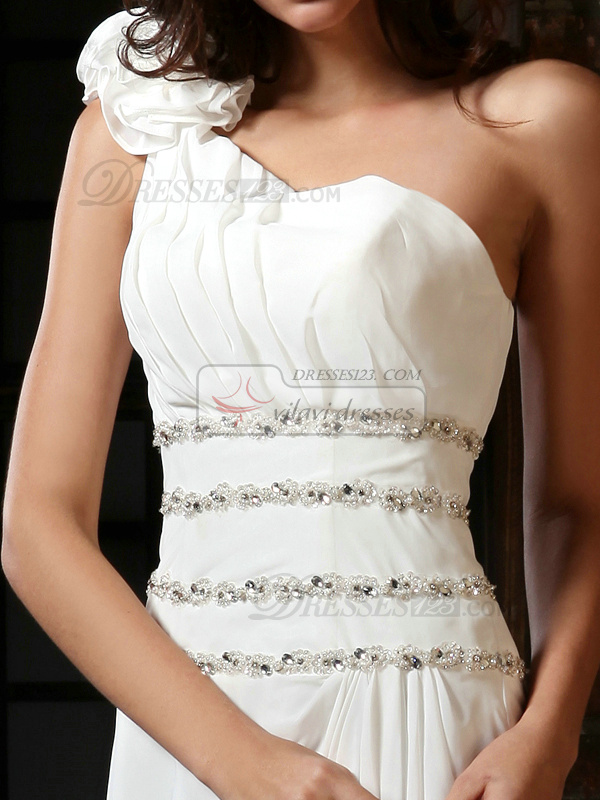 Perfect A-Line Chiffon One shoulder Court Train Beading Evening Dresses