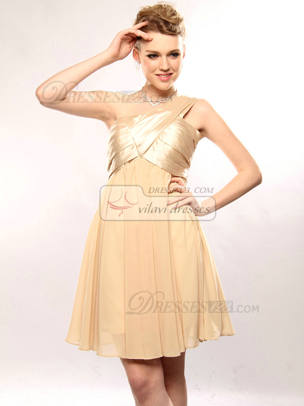 Happiness A-line Chiffon One shoulder Short/Mini Prom/Cocktail Dresses