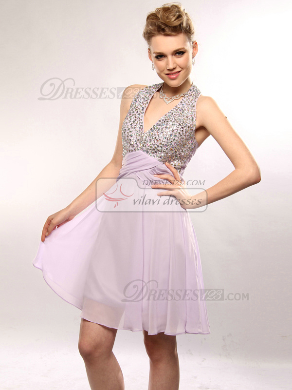 Noble Sheath/Column Halter Short/Mini Sequin Prom/Cocktail Dresses