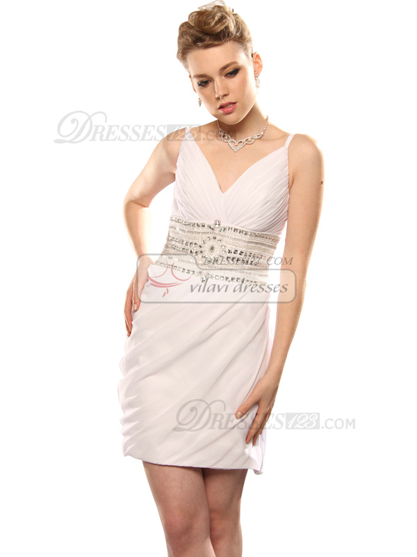 Beautiful Sheath/Column Chiffon Short/Mini Beading Cocktail/Graduation Dresses
