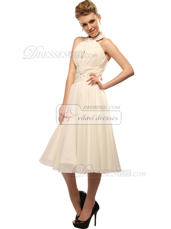 Lovely A-line Chiffon Halter Knee-length Cocktail/Graduation Dresses