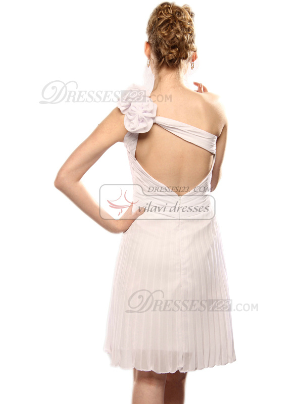 Awesome Sheath/Column One shoulder Short/Mini Flower Graduation/Sweet 16 Dresses