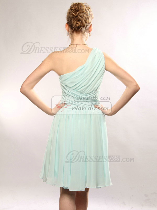 Terrific A-line Chiffon Knee-length Draped Homecoming/Sweet 16 Dresses