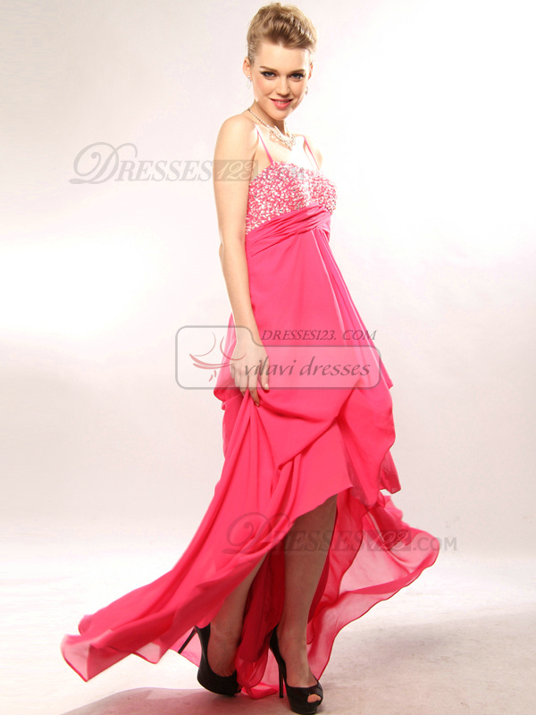 Elegant A-line Spaghetti Straps Asymmetrical Train Pick-Ups Evening/Prom Dresses