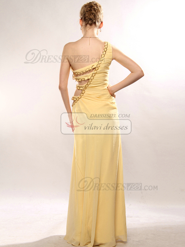 Gorgeous A-line Chiffon One shoulder Floor-length Evening/Prom Dresses