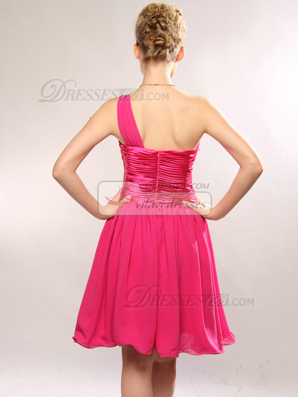 Adorable A-line One shoulder Short/Mini Draped Homecoming/Cocktail Dresses