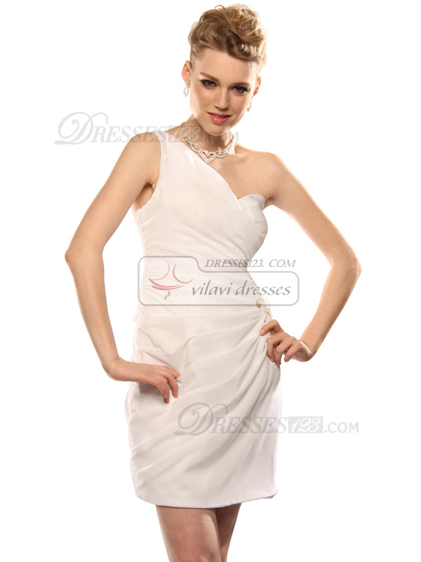 Sexy Sheath Chiffon One shoulder Beading Prom/Graduation Dresses Size 2 And Size 4
