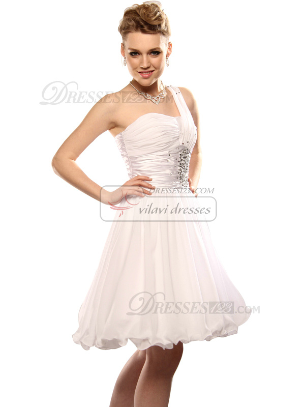 Pure Color Ball Gown Chiffon One shoulder Beading Cocktail/Graduation Dresses