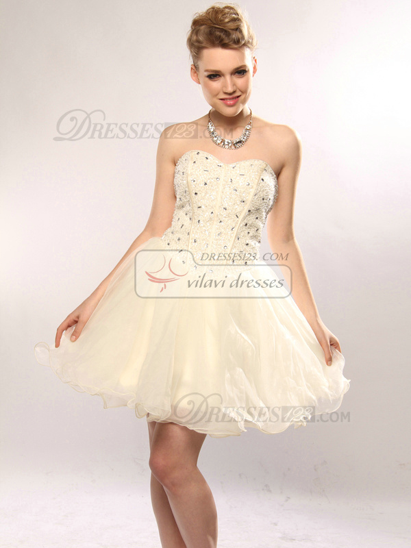 Intelligent A-line Organza Short/Mini Sequin Homecoming/Sweet 16 Dresses