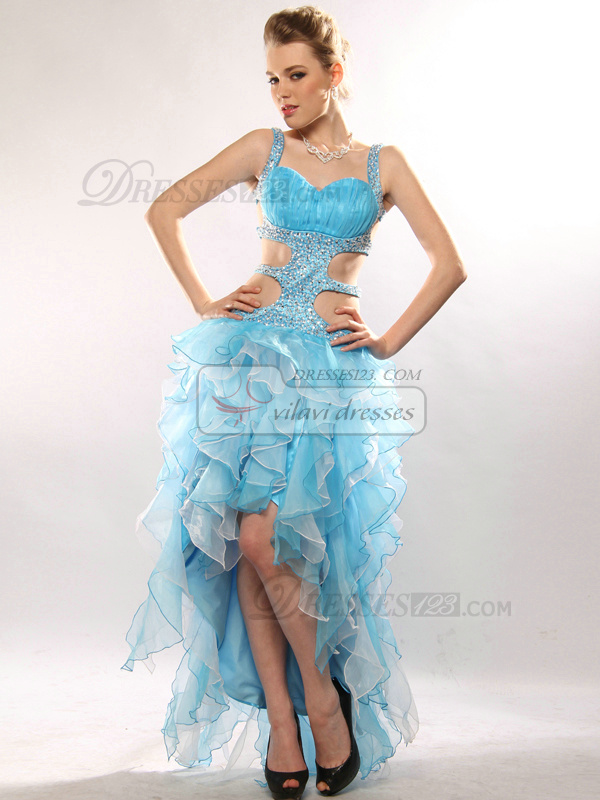 Sexy A-line Organza Asymmetrical Train Sequin Cocktail/Prom Dresses