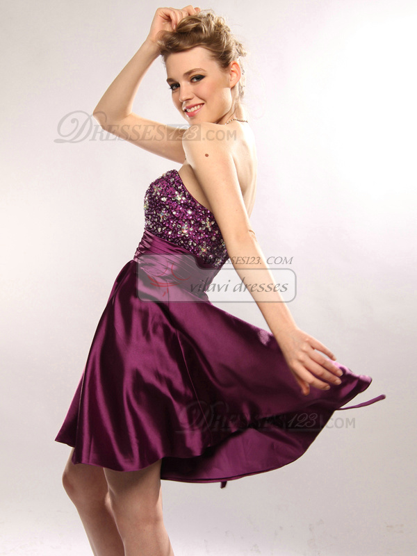 Fabulous A-line Stretch Satin Short/Mini Sequin Cocktail/Homecoming Dresses