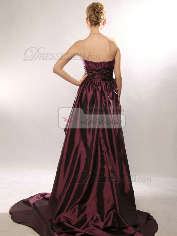 Terrific A-line Taffeta Tube Top Court Train Prom Dresses