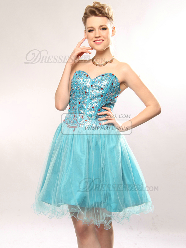 Excellent A-line Sweetheart Short/Mini Rhinestone Cocktail/Sweet 16 Dresses