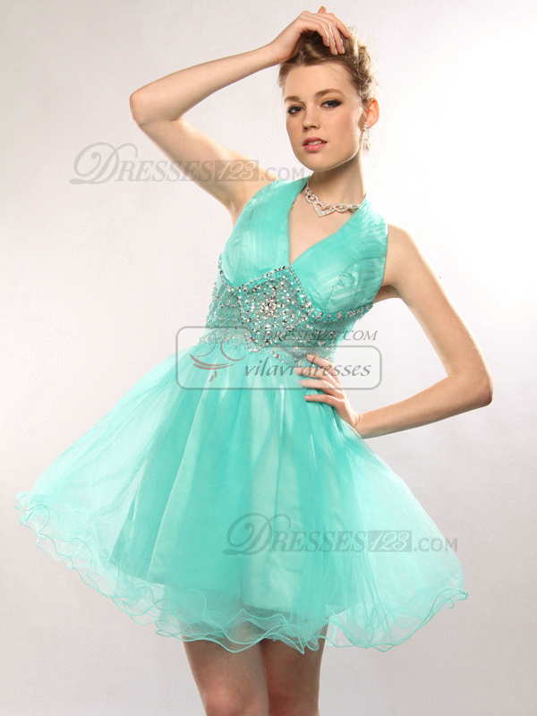 Appealing A-line Tulle Halter Short/Mini Cocktail/Homecoming Dresses