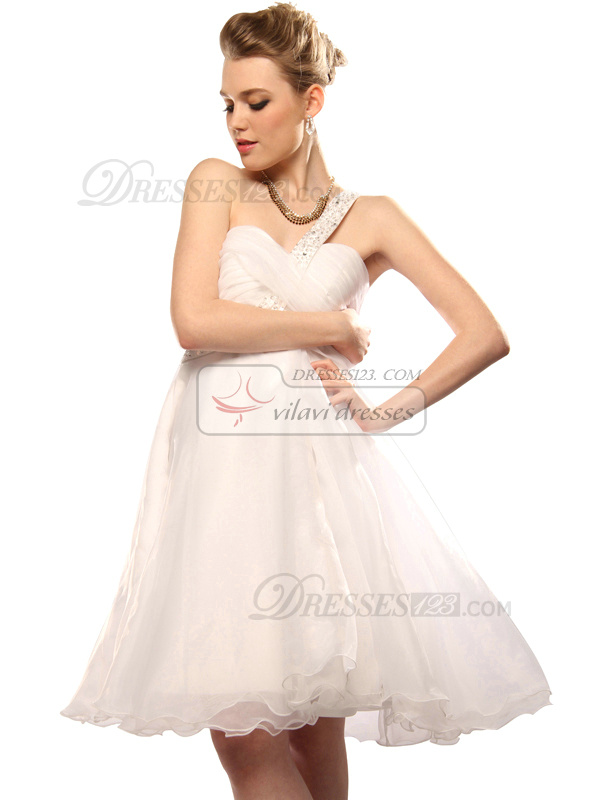 Graceful A-line Tulle One shoulder Beading Graduation/Cocktail Dresses