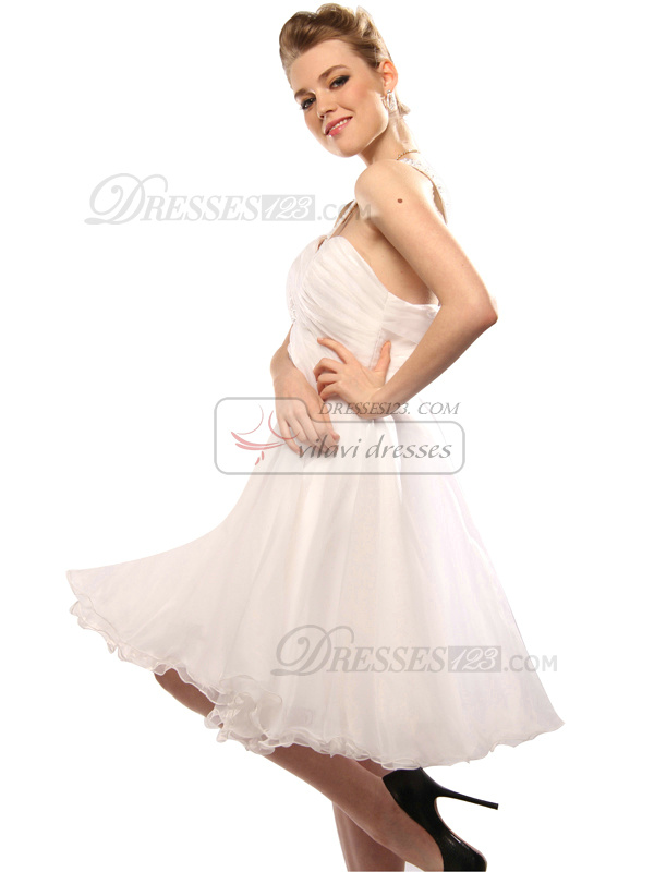 Graceful A-line Tulle One shoulder Beading Graduation/Cocktail Dresses Size 2 And Size 4