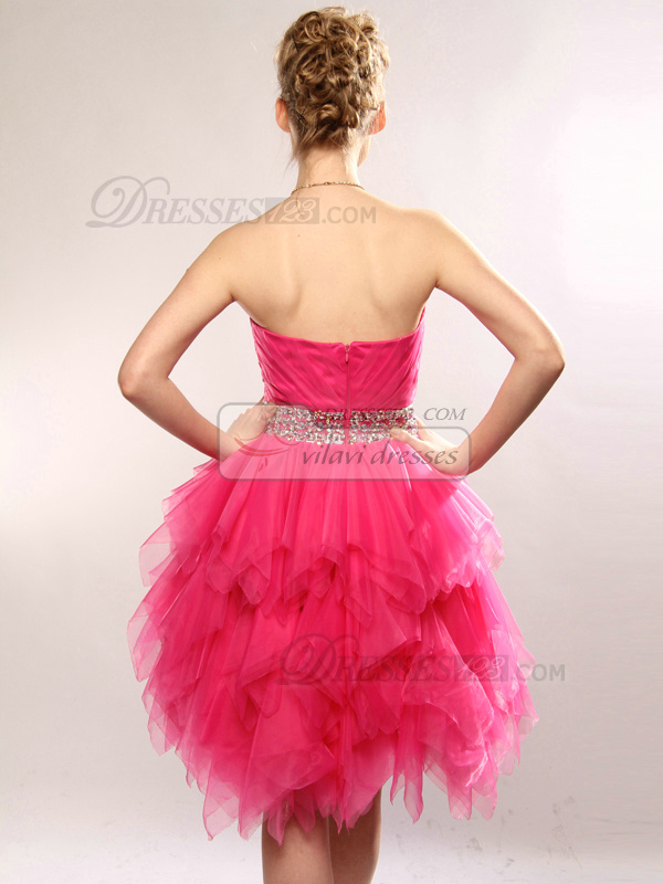 Glamorous Princess Tulle Tube Top Split Front Cocktail/Sweet 16 Dresses