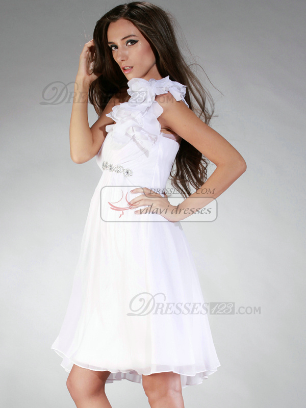 Snazzy A-line One shoulder Short/Mini Flower Graduation/Homecoming Dresses