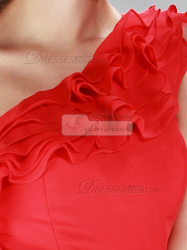 Lovely Sheath/Column Chiffon One shoulder Cascading Ruffle Cocktail/Homecoming Dresses