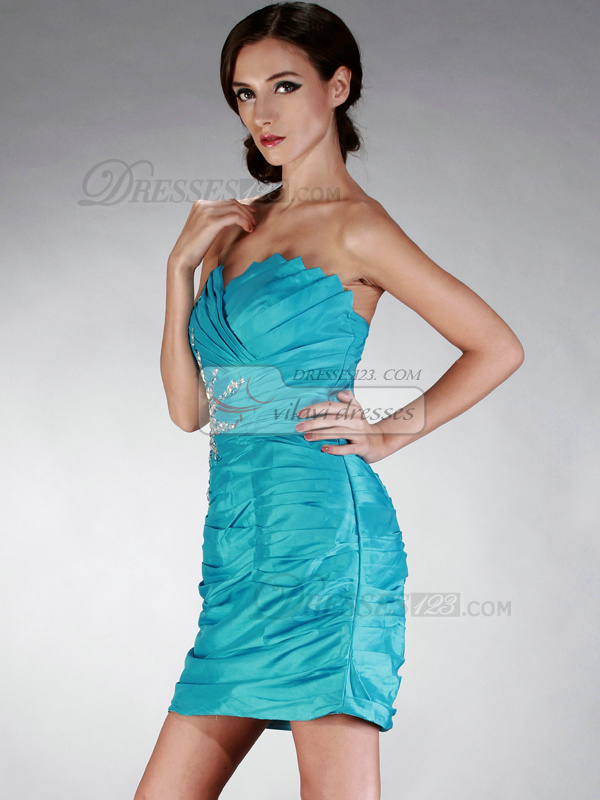Excellent Sheath/Column Taffeta Strapless Crystal/Rhinestone Cocktail/Homecoming Dresses