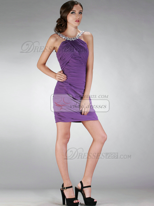 Marvelous Sheath/Column Chiffon Short/Mini Crystal/Rhinestone Cocktail/Homecoming Dresses