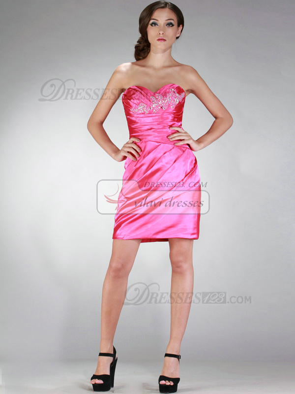 Glorious Sheath/Column Strapless Short/Mini Beading Cocktail/Homecoming Dresses