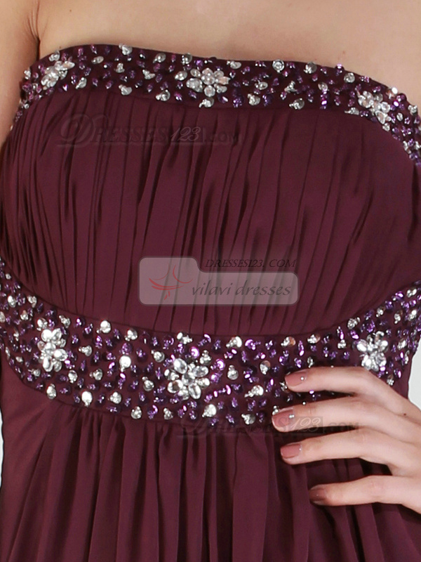 Gorgeous A-line Chiffon Sweep/Brush Train Beading Prom/Evening Dresses