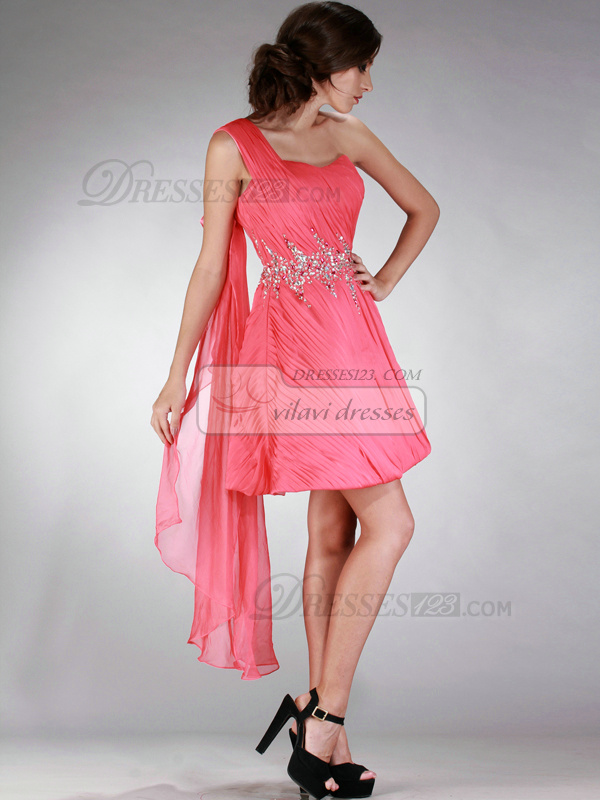 Lovely A-line One shoulder Short/Mini Sequin Prom/Homecoming Dresses