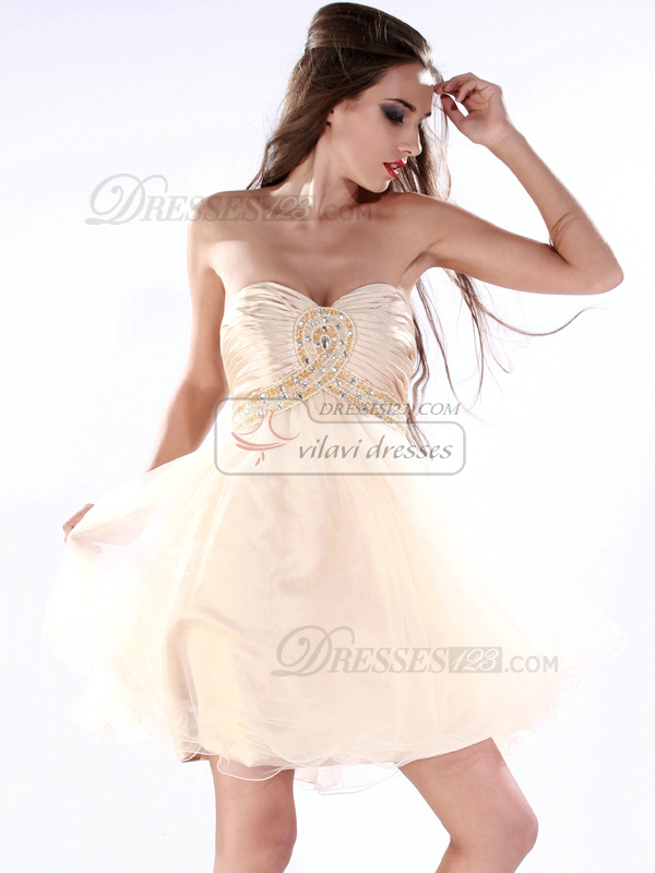 Terrific Princess Tulle Short/Mini Draped Prom/Homecoming Dresses