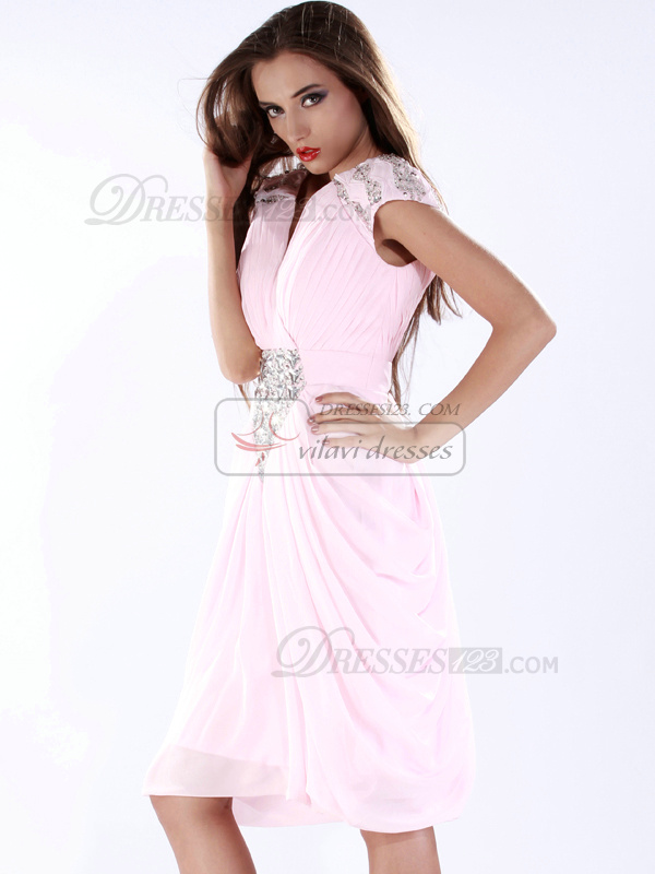 Elegant Sheath/Column V-neck Knee-length Crystal Prom/Cocktail Dresses