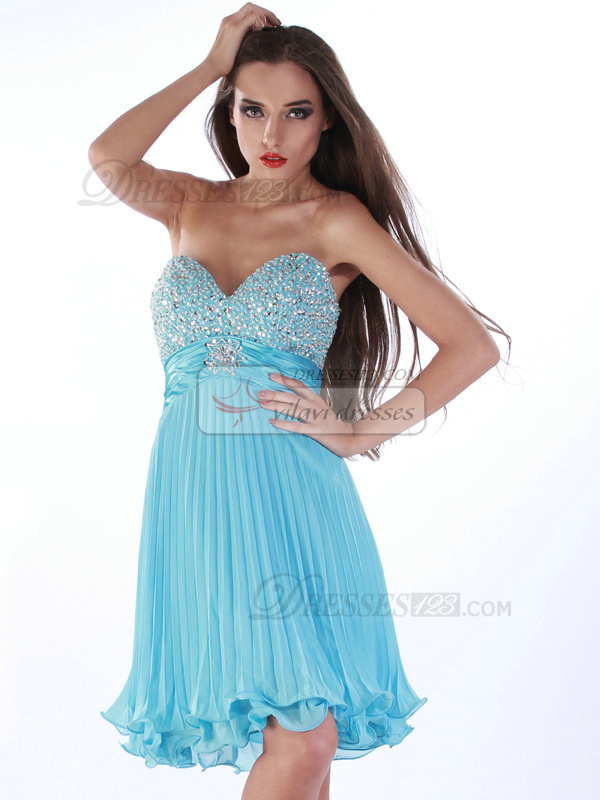 Stunning Sheath/Column Sweetheart Knee-length Rhinestone Prom/Sweet 16 Dresses