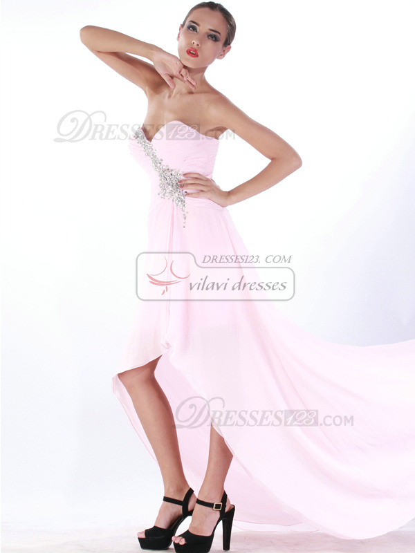 Brilliant A-line Chiffon Sweetheart Asymmetrical Train Prom/Cocktail Dresses