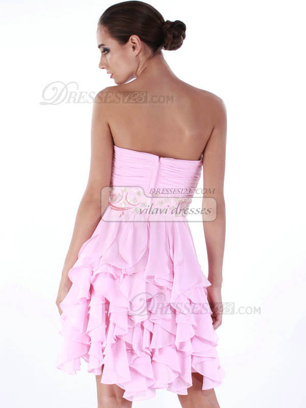 Graceful A-line Sweetheart Knee-length Cascading Ruffle Cocktail/Homecoming Dresses