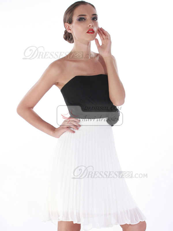 Beautiful A-line Tube Top Knee-length Flower Cocktail/Homecoming Dresses