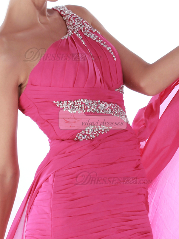 Sexy Sheath/Column One shoulder Asymmetrical Train Tiered Prom/Cocktail Dresses