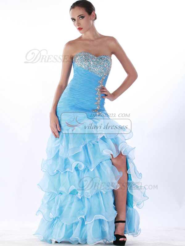 Phenomenal A-line Organza Floor-length Split Front Prom Dresses