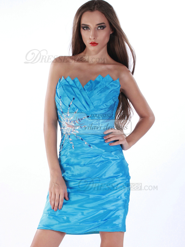 Incomparable Sheath/Column Taffeta Scalloped-edge Tiered Cocktail/Prom Dresses