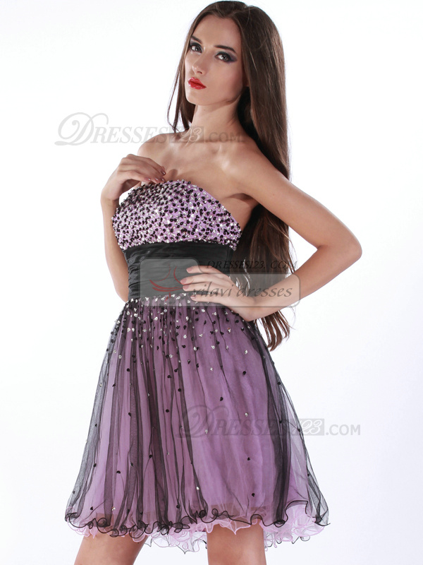 Shining A-line Tulle Tube Top Beading Cocktail/Homecoming Dresses