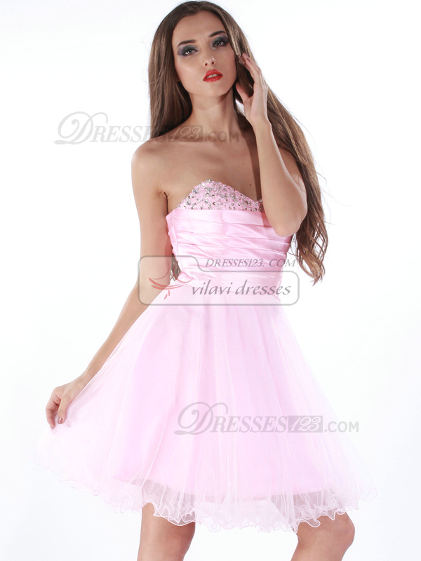 Intelligent A-line Tulle Knee-length Beading Cocktail/Sweet 16 Dresses