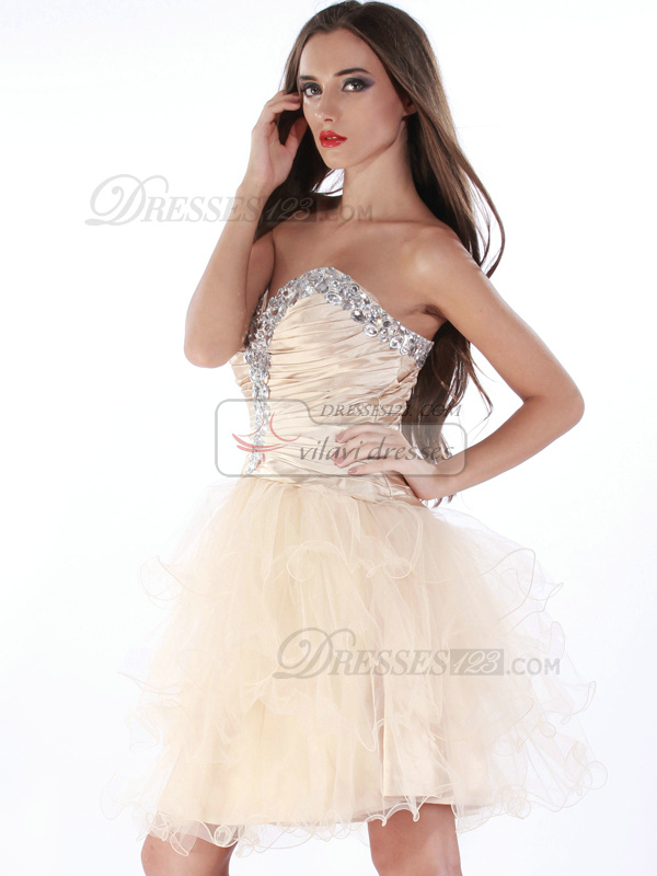 Phenomenal Princess Tulle Sweetheart Crystal Cocktail/Sweet 16 Dresses