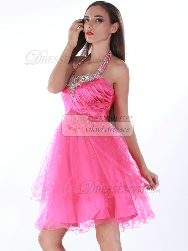 Marvelous A-line Tulle Halter Sequin Prom/Cocktail Dresses