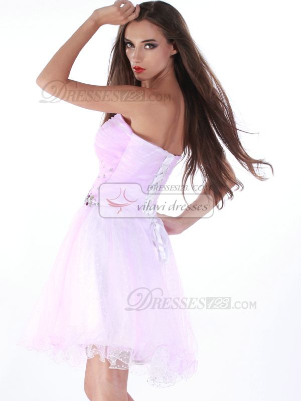 Wonderful A-line Tulle Sweetheart Rhinestone Cocktail/Sweet 16 Dresses