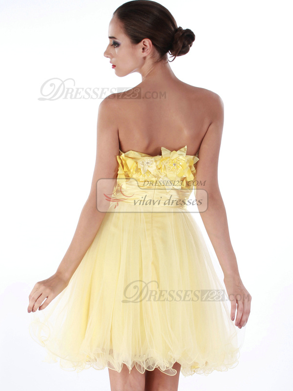 Glamorous A-line Tulle Short/Mini Flower Cocktail/Homecoming Dresses