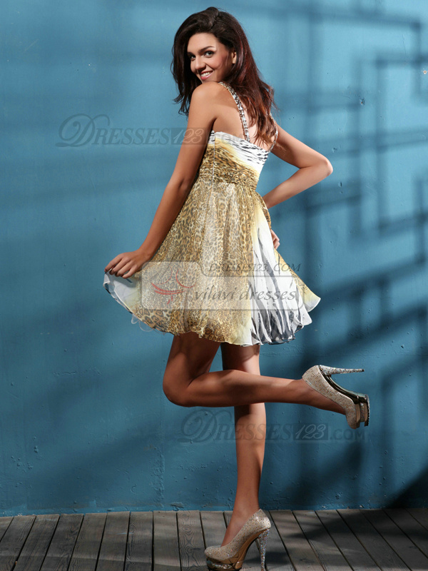 Stunning A-line Straps Short/Mini Print Homecoming Dresses