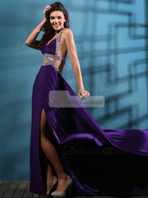 Perfect Sheath/Column Halter Sweep Split Front Prom Dresses