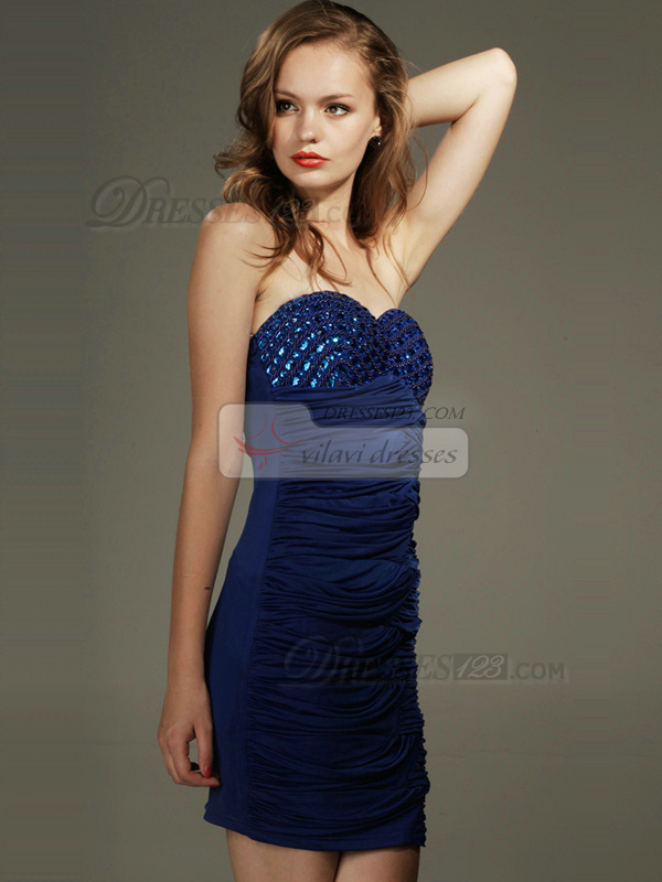 Beautiful Sheath Chiffon Short Sweetheart Strapless Crystal Prom/Cocktail Dresses