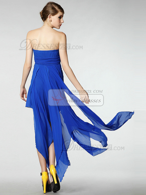 Glamorous A-line Chiffon Ankle-length Strapless Draped Sweet 16/Homecoming Dresses